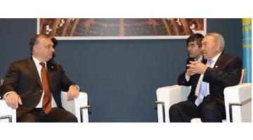 Kazakh Leader, Hungary's PM debated regional security issues