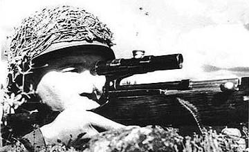 Снайпер Тулеугали Абдыбеков, прозванный фашистами «черной смертью», уничтожил 397 немцев