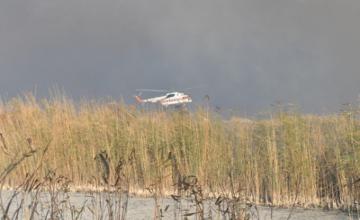 На побережье Каспия в Атырауской области ликвидировали 12 очагов возгорания камыша (ФОТО)