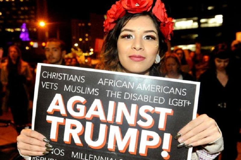 美国多个城市连续第二晚抗议特朗普当选