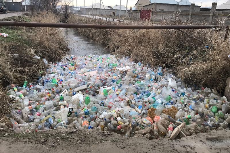 Жителей Шымкента возмутила гора пластиковых бутылок в канале