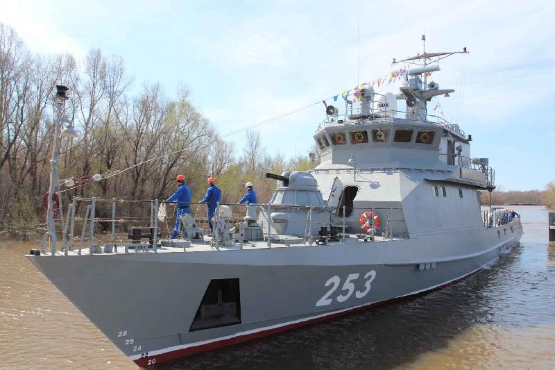 Военный корабль «Мангистау» спустили на воду в Уральске