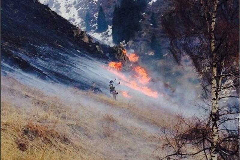 О пожароопасности в горах Алматы предупредили спасатели