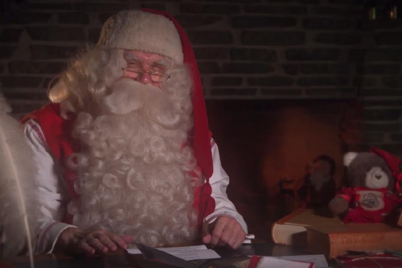 Santa Claus from Lapland wishes Happy New Year to Kazakh children