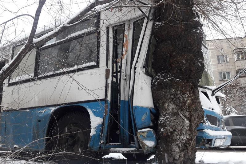 Алматыда жолаушылары бар автобус ағашқа соғылды