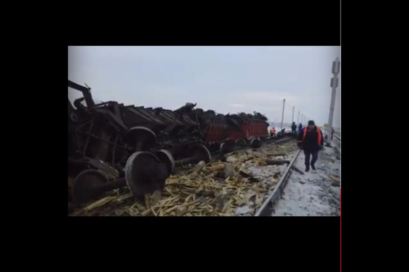 Атырау облысында астық артылған вагондар рельстен шығып кетті