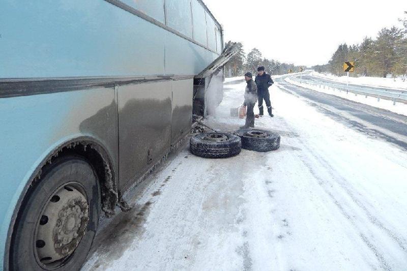 Автобус с гражданами Таджикистана сломался на трассе в Акмолинской области
