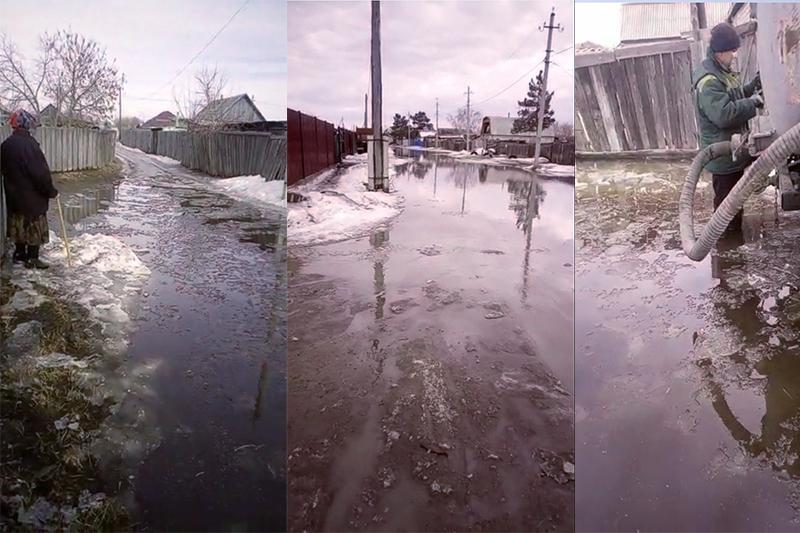 Поселок затопило талой водой в Павлодаре