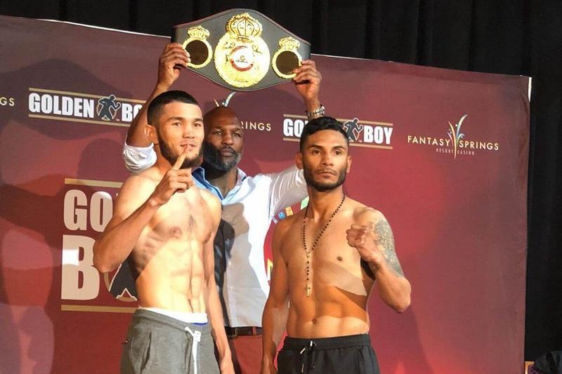 Sharibayev vs Cancio weigh-in at 129.4 and 130 lbs
