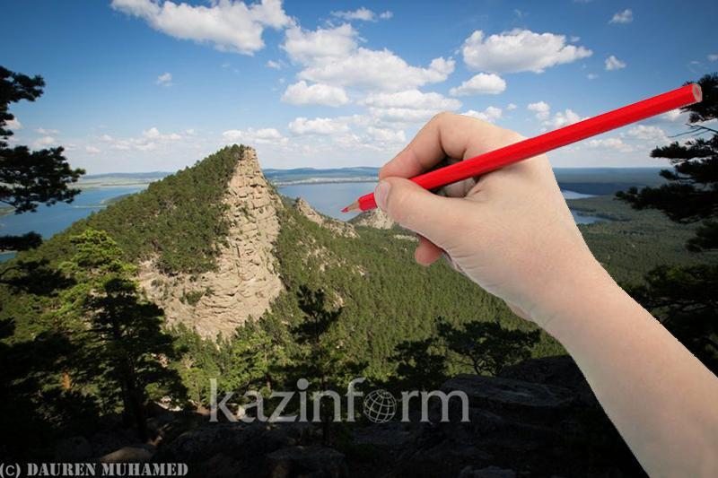 Дети рисуют логотип Бурабая как глобального геопарка ЮНЕСКО