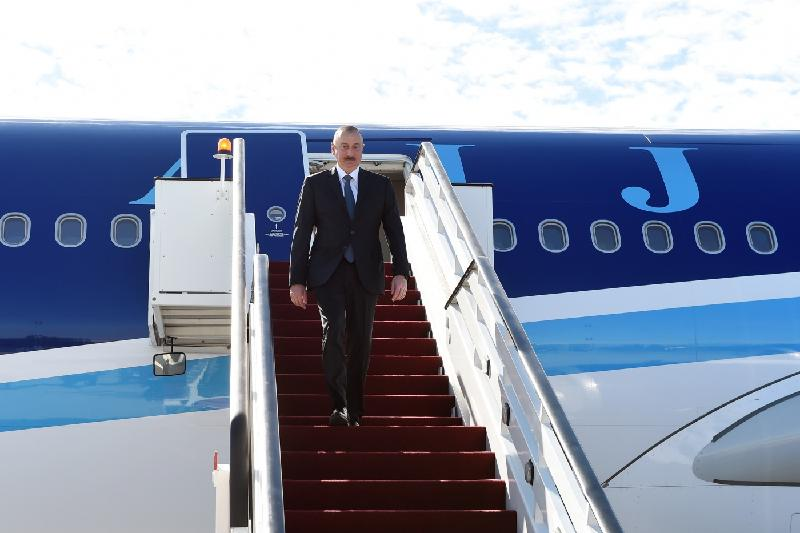 President of Azerbaijan arrives in Aktau