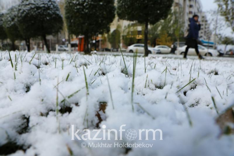 Снег выпал в Туркестанской области