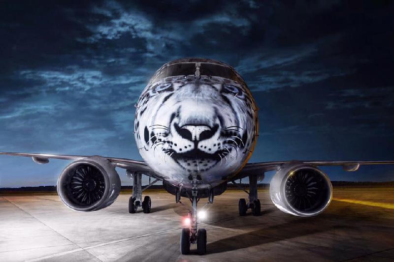Стилизованный под снежного барса самолет появился в Казахстане