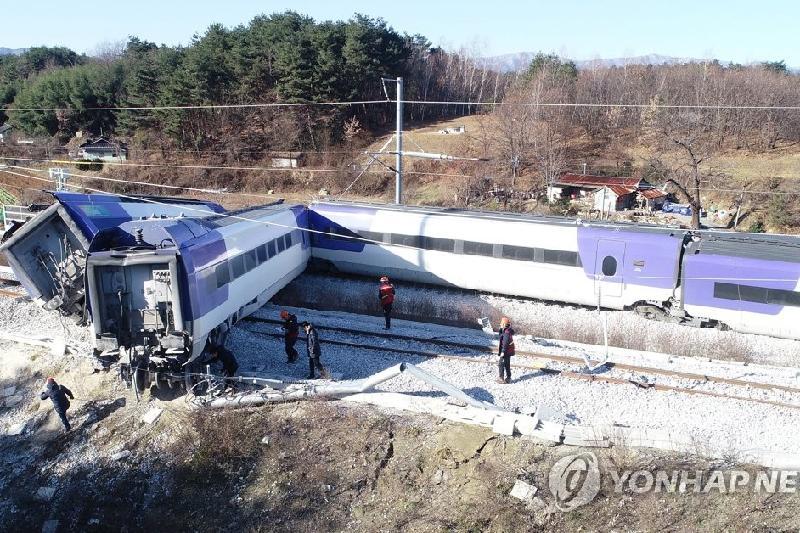 Оңтүстік Кореяда жүрдек пойыз рельстен шығып кетті
