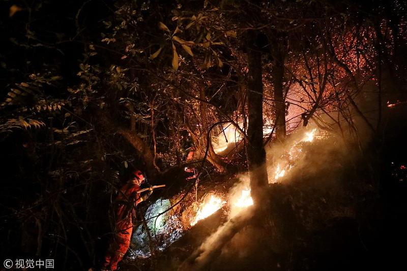 中国四川发生森林火灾