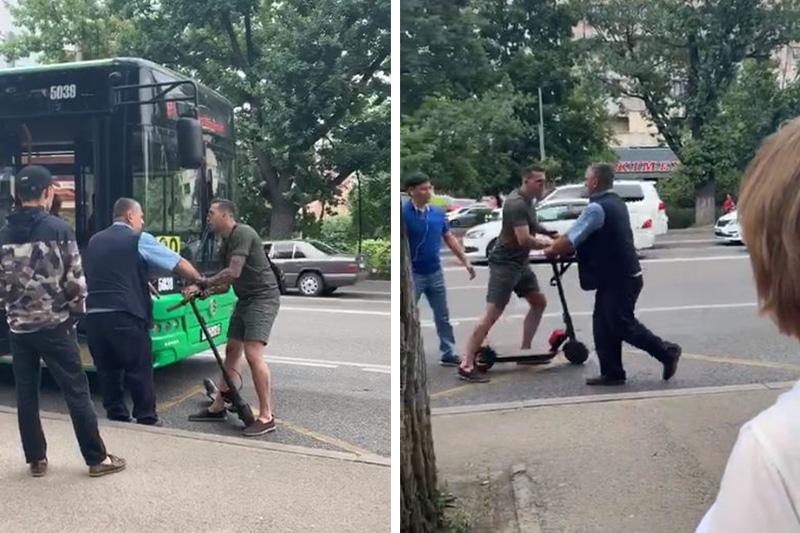 Самокатчика, напавшего на водителя автобуса в Алматы, привлекли к ответственности