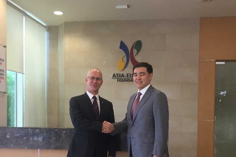 Kazakhstan's Ambassador to Singapore, ASEF Executive Director meet
