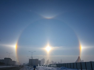 Astana residents see sun dogs on first day of spring