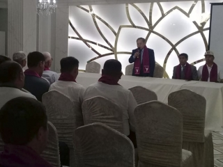 Kazakhstan presidential candidate Sadybek Tugel meets with Atyrau residents